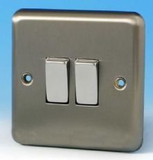 Varilight 2 Gang 2 Way 10A Rocker Light Switch Brushed Matt Chrome Dec Switch - XS2D